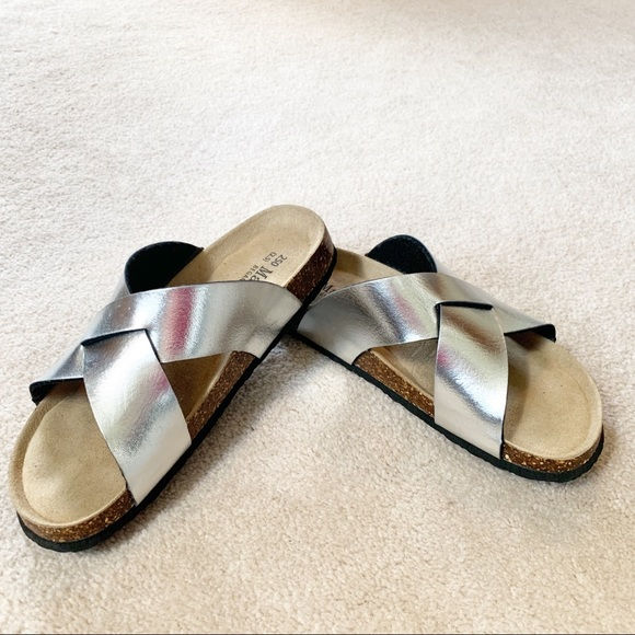 8f4397373 Maibulun Shoes | Silver Metallic Eva Cork Slide Sandals 40 | Poshmark